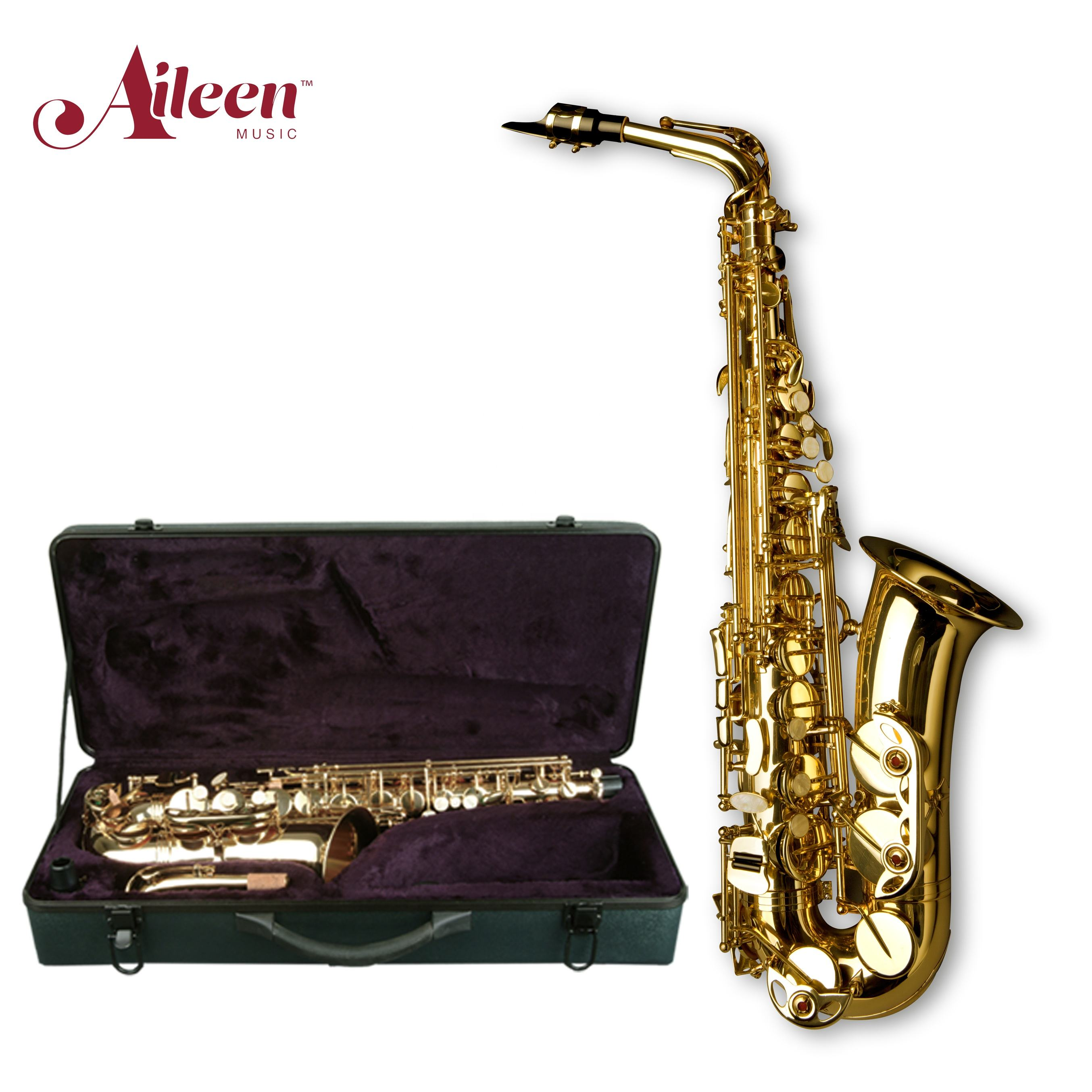 High F# Golden Lacquer Eb Key Sax Alto Saxophone ( SP1001G )