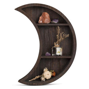Antique Bathroom Wall Mounted Wooden Floating Moon Shelf for Home Decor