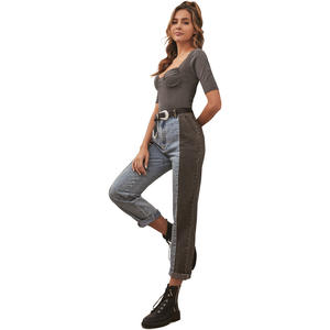 Fashion women's high-waist patch pocket denim trousers women jeans pants