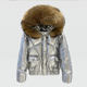 OEM Real Raccoon Fur Hooded Women's Plain Color Keep Warmth Waterproof Short Shiny Puffer Feather Jacket