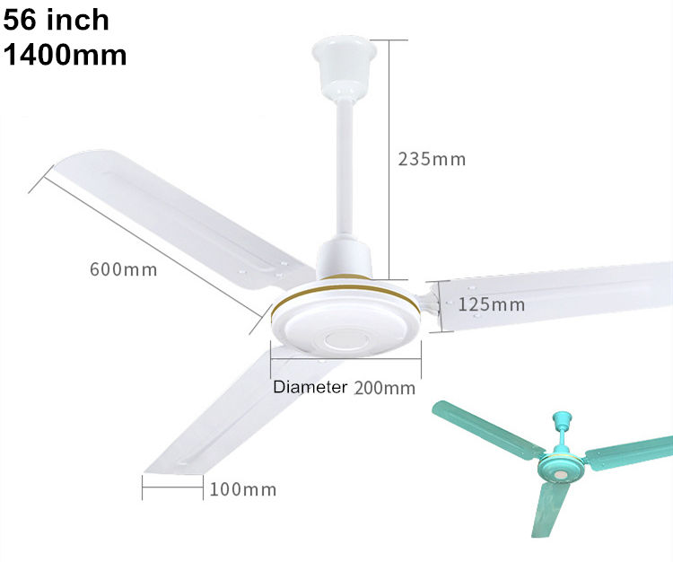 56 inch Ceiling Installation Electric industrial ceiling Fan Electric power source metal blades ventilation air cooling fan