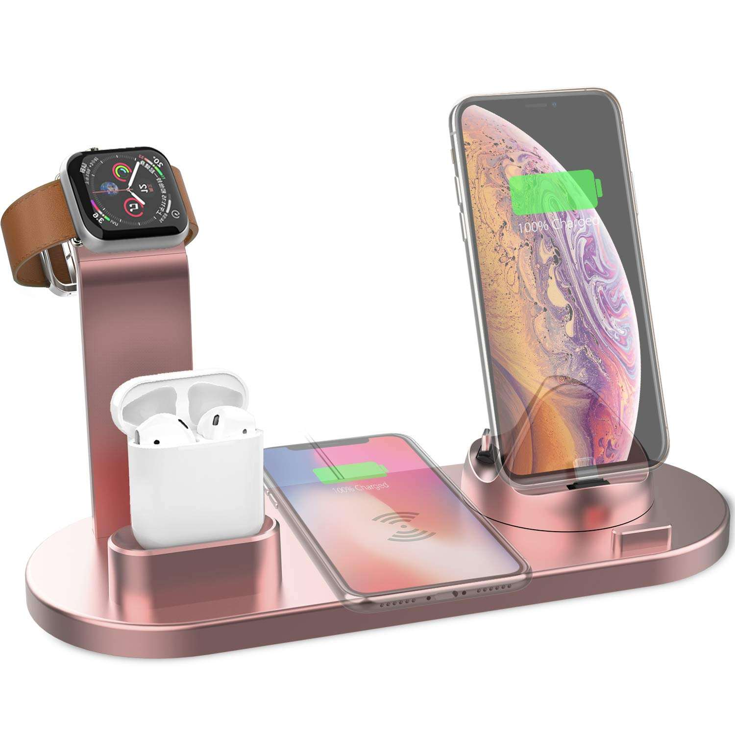 Wireless Charger Dock 4in1 Multiple Device Fast Charging Station Qi Fast Wireless Charging Stand Compatible for iphone 11
