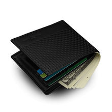 Fashion Slim PU Leather Men's Short Wallet Black Woven Pattern Casual Money Clip Card Purse