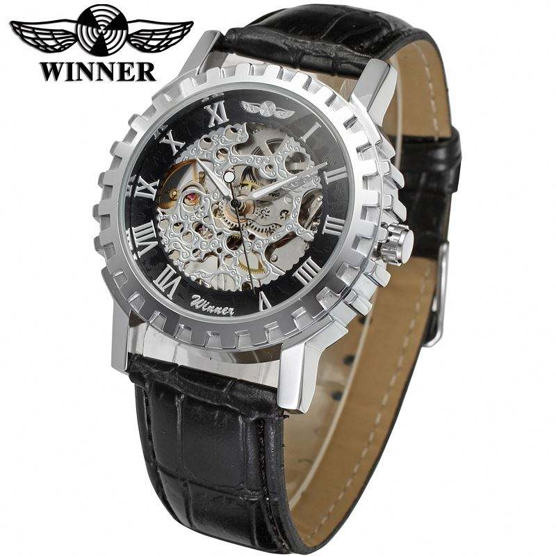 WINNER 8036 king black mens mechanism watch creative Genuine Leather band water proof automatic self winding minimal watch set