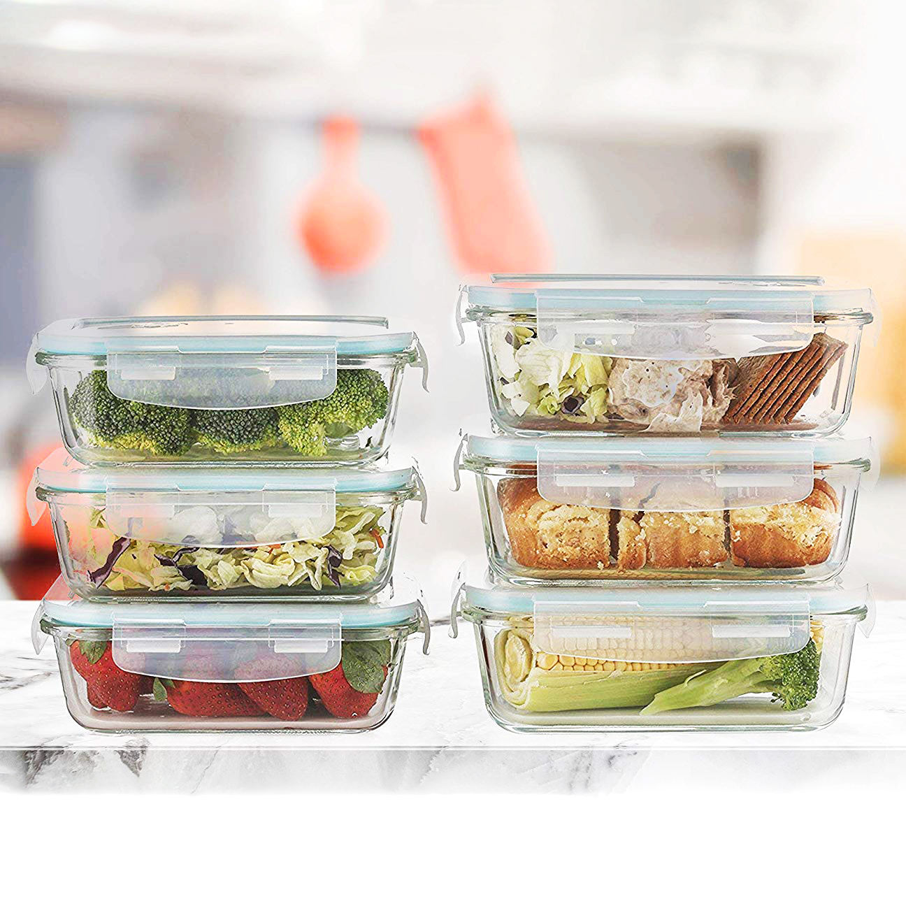 thermal glass kitchen food storage containers sets