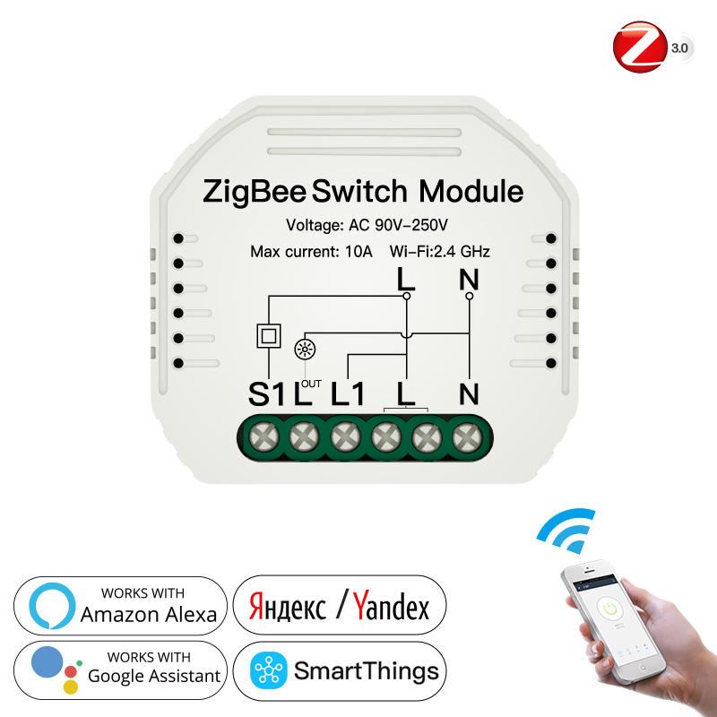 2 Gang 3 Way Smart Light LED Switch Module Relay For Smart Home Automation Device Zigbee 3.0 Controller System
