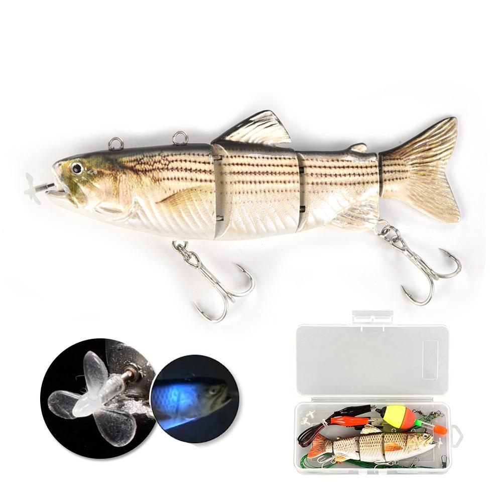 Lureking Factory Hot Sale USB Charging Robot Led Twitching Fish Swimming Fishing Lure Electric Bait 35g 130mm W0808
