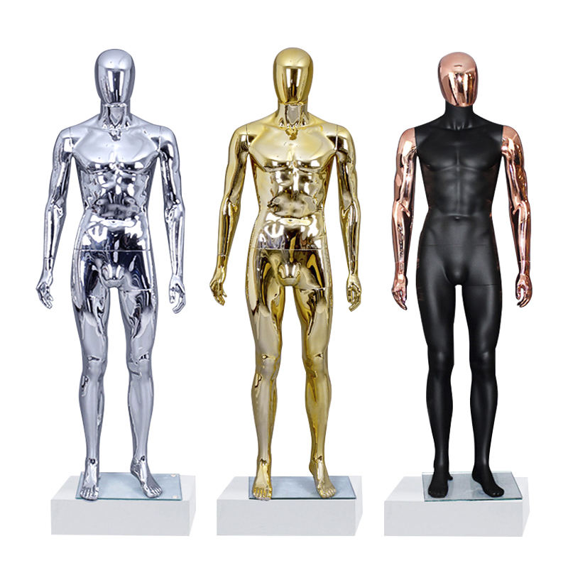 Wholesale Boutique Luxury Shinny Gold Silver Man Dummy Full Body Mannequins Display Fiberglass Male Mannequin
