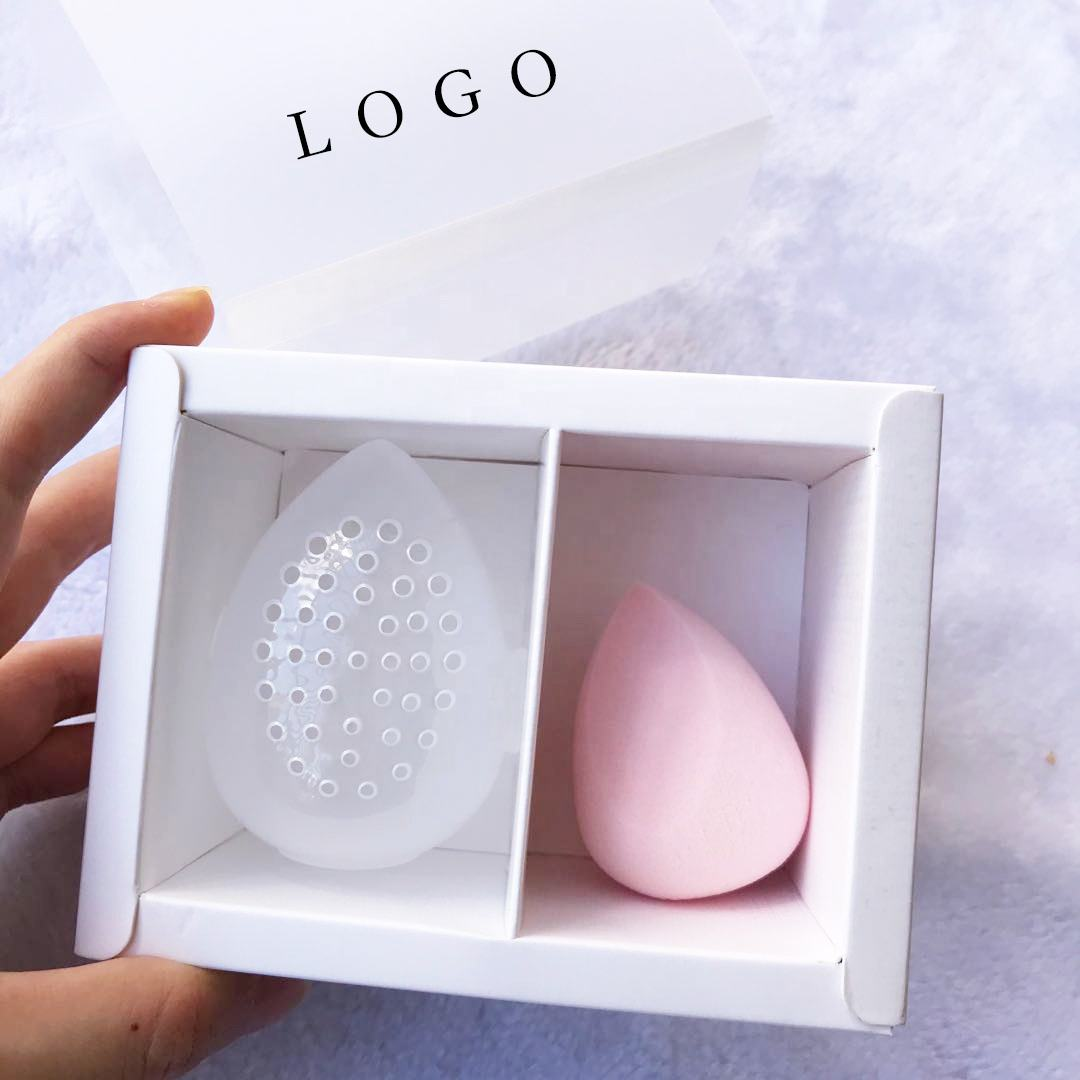 Factory Custom Logo Gift Box Packaging Clear Frosted PVC Sleeve Window Sliding Kraft Drawer Box Makeup Sponge Set Private Label
