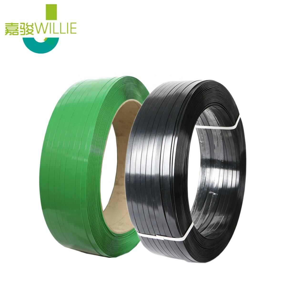 Carton Box Plastic Packing Strip Green Transparent Black Embossed 160060 Polyester Strap For Fbalers