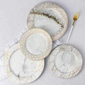 European Style Gold Wire Marble Plates Wedding Ceramic Dinner Set Porcelain Dessert Plate Cake Plates Tableware
