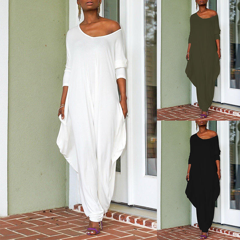 Elegant Female Loose Casual White Womens Jumpsuit Baggy Oversized Women Sexy Fashion Jumpsuit Simple Design Custom Romper Women