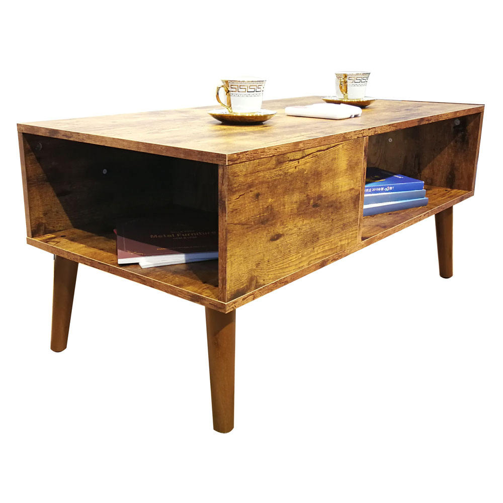 Solid wood leg industrial wood coffee table TV stand cabinet with storage