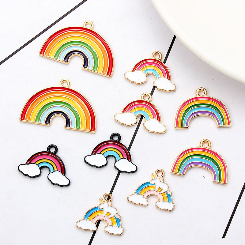 New Mix Oil Drop Rainbow Enamel Charms DIY Jewelry Bracelet Necklace Pendant Charms Gold Tone Enamel Floating Charm