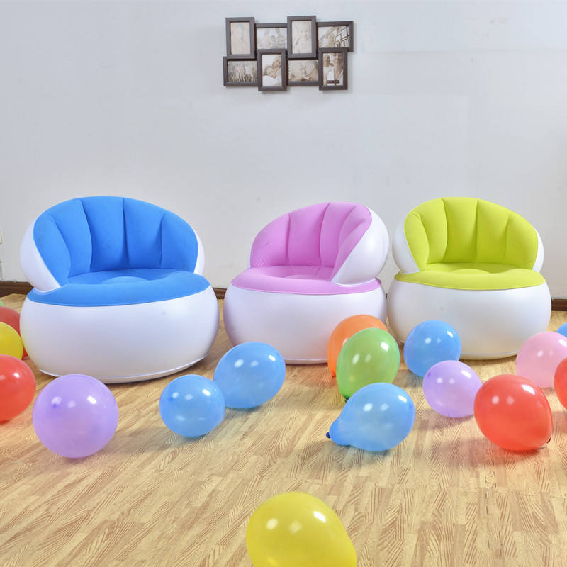 PVC Flocked inflatable Living Room Furniture Air Sofa , Armchair , Inflatable Dorm Lounge Seat