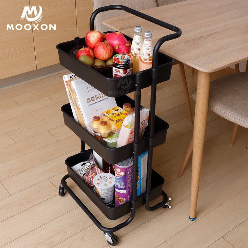 3 Tiers Movable Carbon Steel Home Kitchen Organizer Rolling Tool Storage Racking Trolley Cart