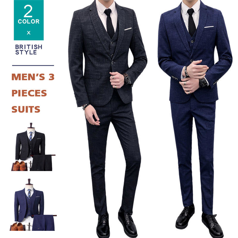 Bruidegom Smoking mannen Wedding Slim Fit 3 Stuk Gecontroleerd Suits Single Breasted Vintage Blazer Suits Set voor Mannen