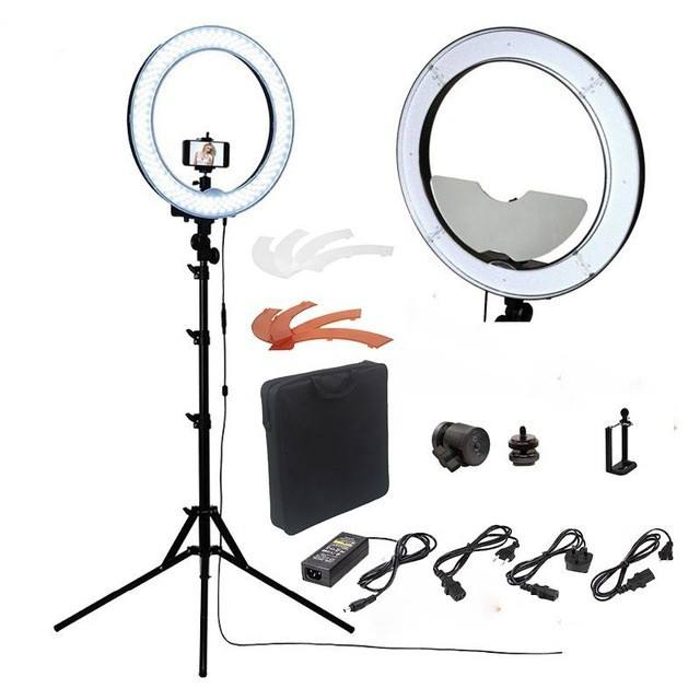 18 inch 240 pcs LED Selfie standing video camera Ring light Dimmable Studio lights circular with tripod cellphone holder