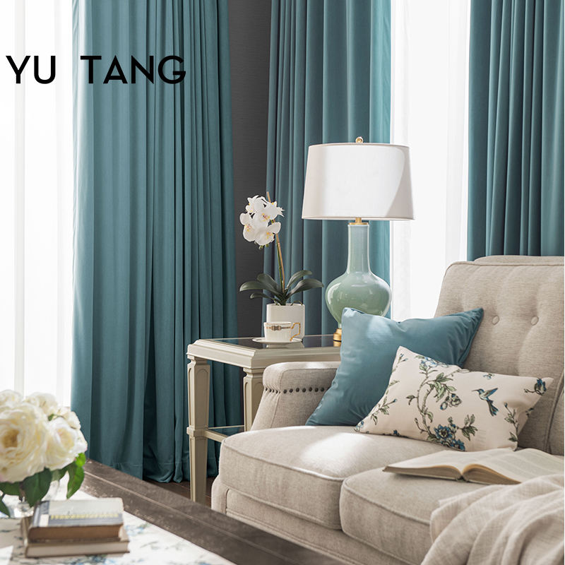 Light Luxury American Style Flannel Window Curtain Grey Blue Blackout Window Curtain Fabric for Bedroom Custom Curtain