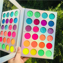 wholesale private label 35color eyeshadow palette with gold tray and neon color