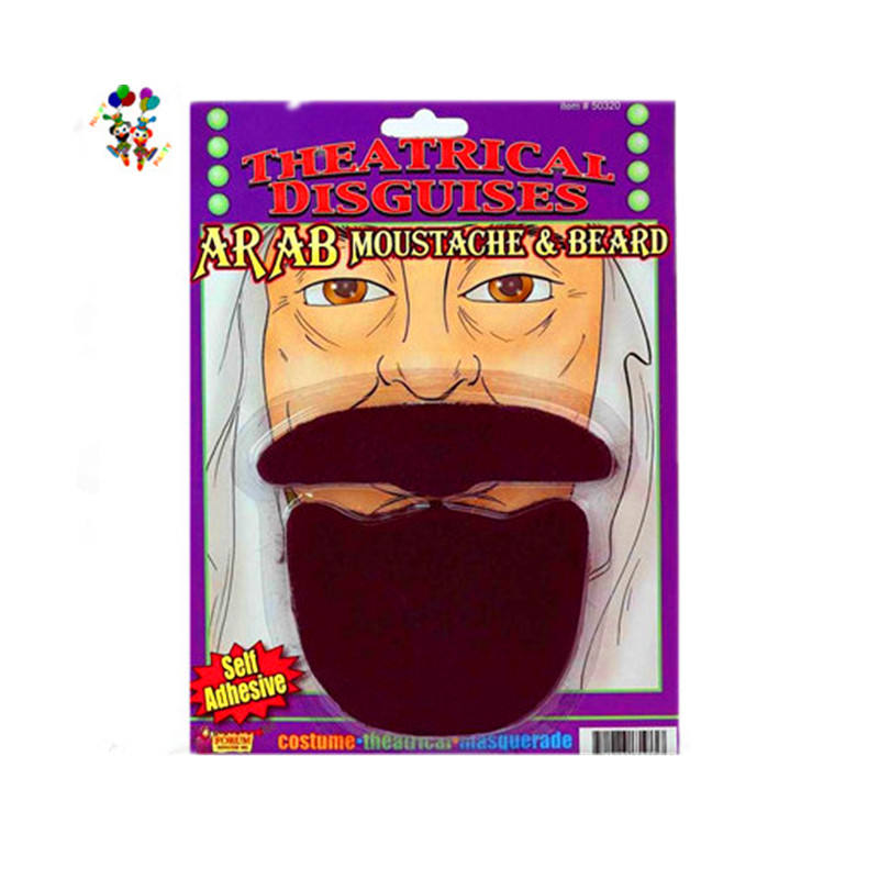Large Self Adhesive Party Disguises Brown False Moustache Beard HPC-1682