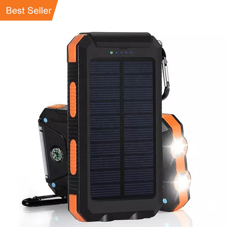 10000 mAh Draagbare Oplader Solar Power Bank Externe Back-Up Batterij Solar Charger met Dual USB