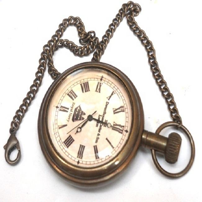 Nautical Brass Royal Navy Pocket Chain Watch