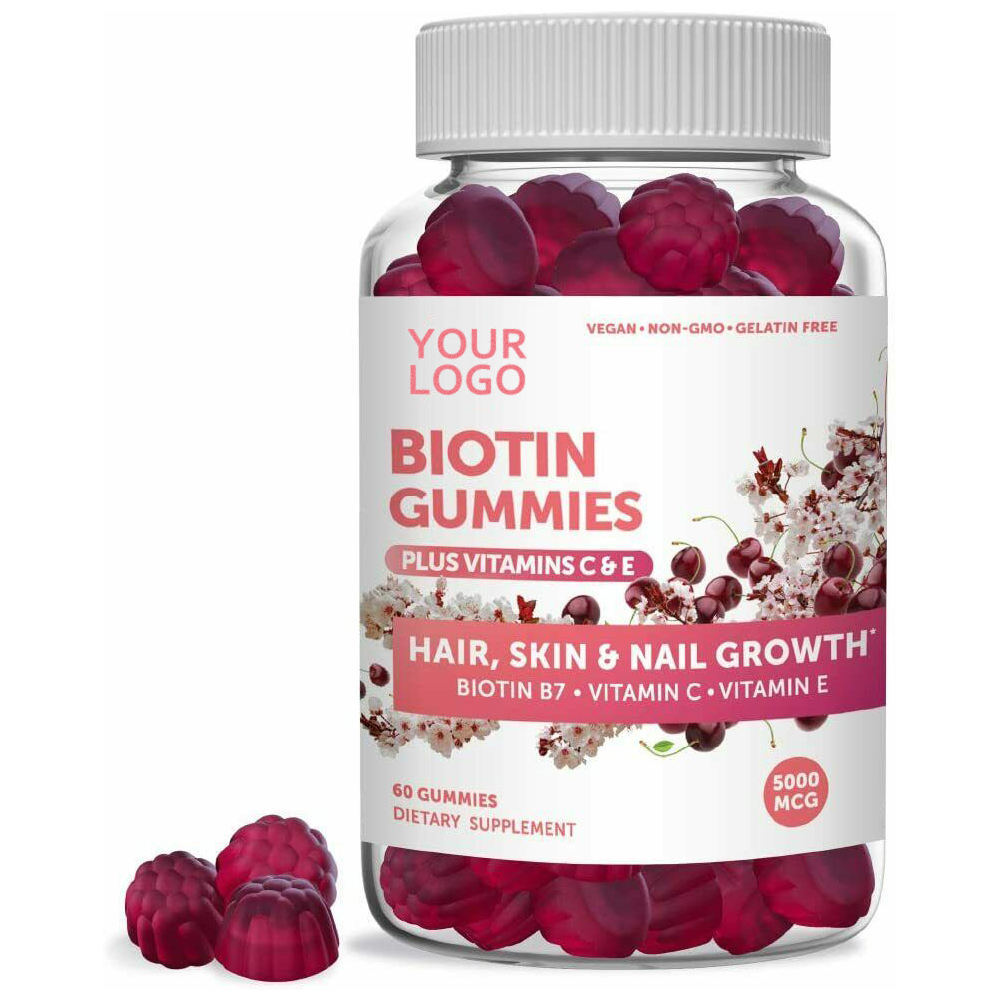 OEM Natural Vegan Biotin Hair Vitamin Gummies With Vitamin E For Hair And Nail Growth