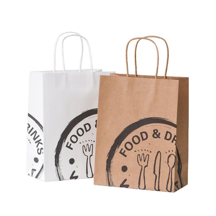 Wholesale Custom Logo Printing Food Take Away Brown kraft Paper Bag With Handle
