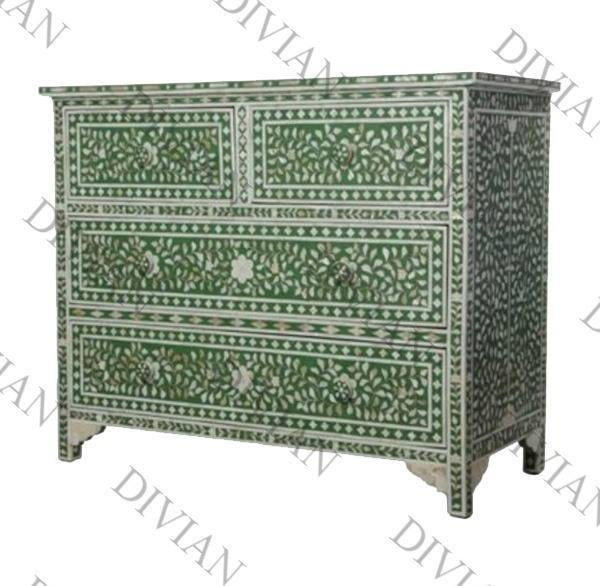 Indian Handmade Modern Luxury Mother von Pearl Inlay Chest Of Drawers For Living Room Table Furniture