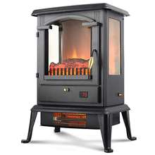 1500W Traditional Realistic Quartz Infrared Electric Fireplace Stove Heater with Remote Control Electric Space Heater