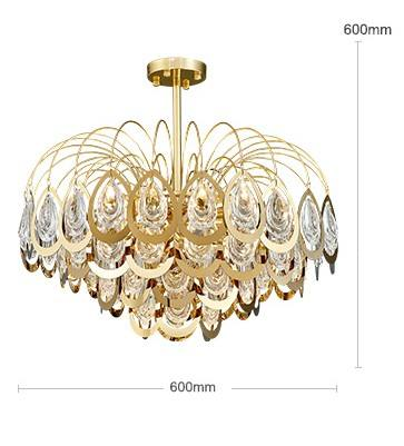 Creative design fancy gold suspended ceiling 8 lights living room crystal pendant lamp
