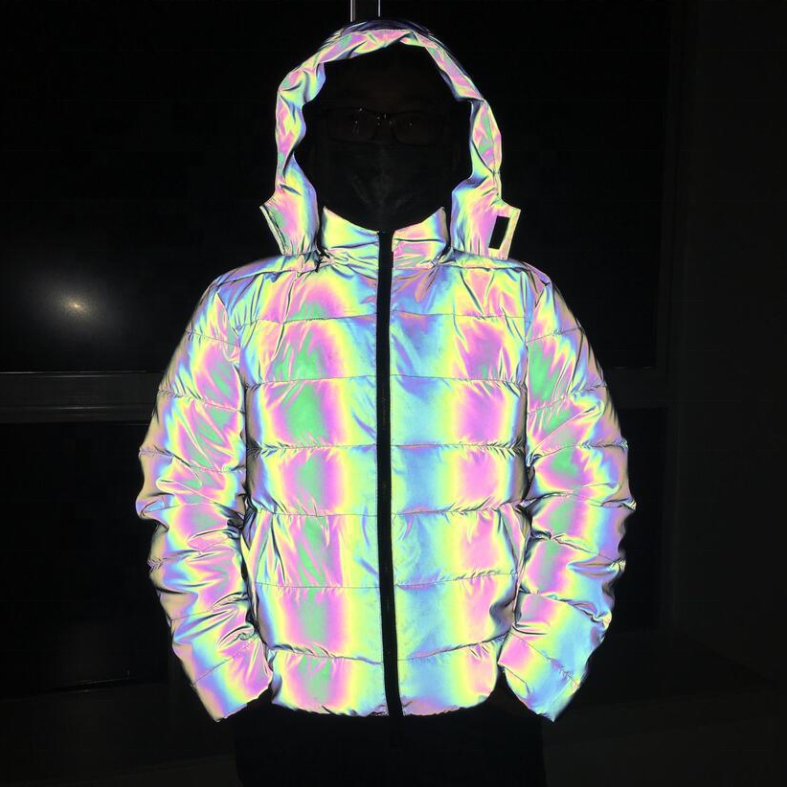 night reflective rainbow color fashion trend noctilucent down puffer jacket with hood for men women winter glowing ski snow coat