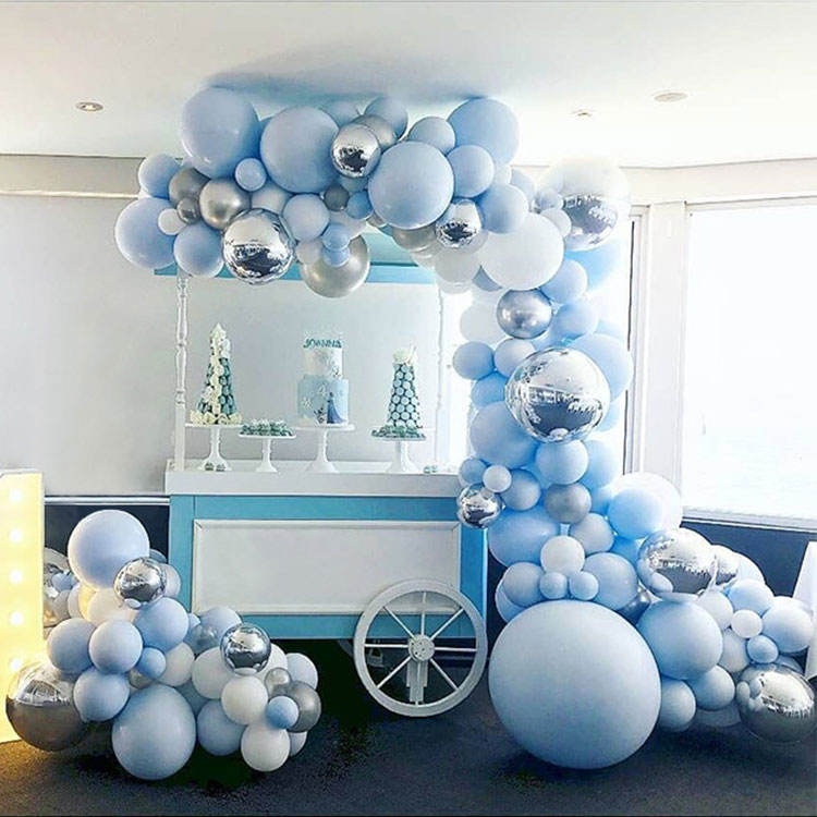 Popular New Design Blue White Latex Balloon Garland Arch For Birthday Wedding Decoration Party