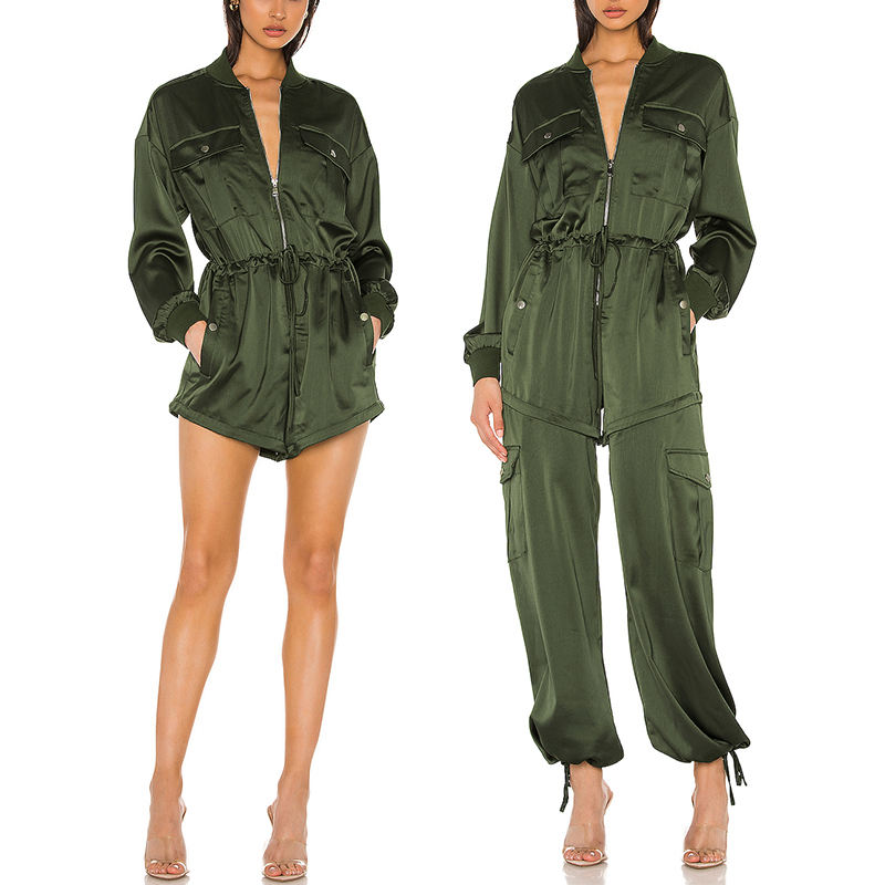 OEM Hot Sale Leisure Army Green Womens Sweat Suits Long Sleeve Girls Dress Womens Two Piece Suit