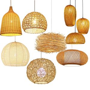 Antique rustic style rattan bamboo hanging light woven lantern pendant lamp
