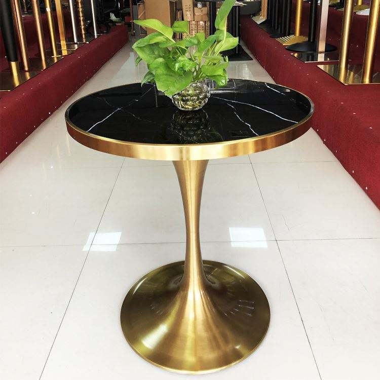 Modern stainless steel table leg metal round tulip table leg dinning trumpet table base