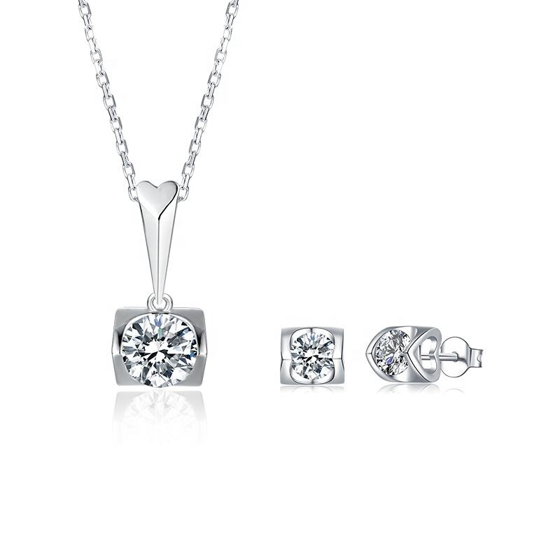 925 Sterling Zilver Rhodium Plated Sieraden Hart Vorm 6.5 Mm Ronde Gra Moissanite Stone Bridal Earring Ketting Set