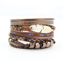 Exquisite Handmade Braided Bohemian Crystal Rhinestone Beads Magnetic Buckle Multilayers Leather Feather Wrap Bracelet