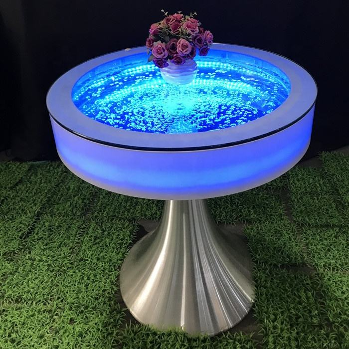 luminous led glow furniture water bubble round bar table colour changing led light furniture