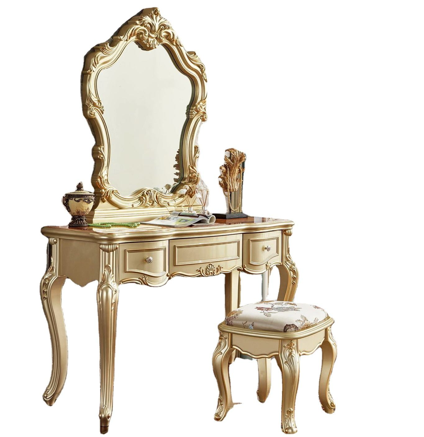 Luxury Golden European style classical wooden bedroom dressing table European antique make up table