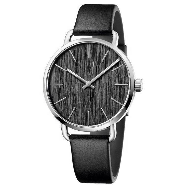 London 43MM 316L Steel Wooden Dial Black Genuine Leather Male Gender Silver Mens Quartz Watch