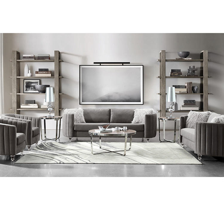 Custom European Leisure Living Room Gray Chair Tufted Classic Design Hotel 2 Seater Fabric Sofa