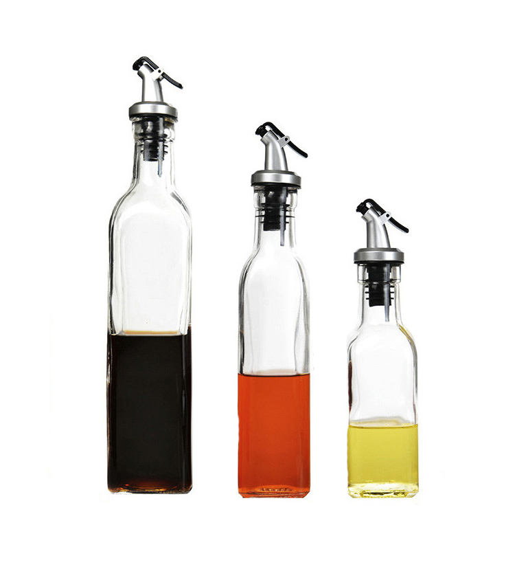 Premium wholesale 150ml 250ml 500ml customized iron plate empty glass bottle for cooking oil, olive oil