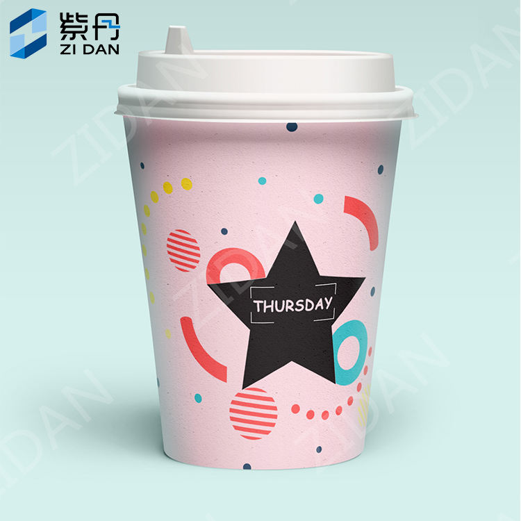 C-12-1 cold paper cup 12oz double PE white cardboard Matte Black 7Oz Paper Coffee Cup Star Design 16 Oz Carton