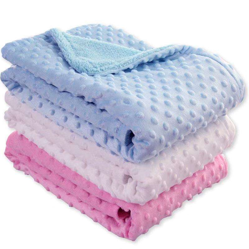Wholesale 100% polyester minky dot baby blanket for baby sublimation fleece blanket minky dot baby blanket