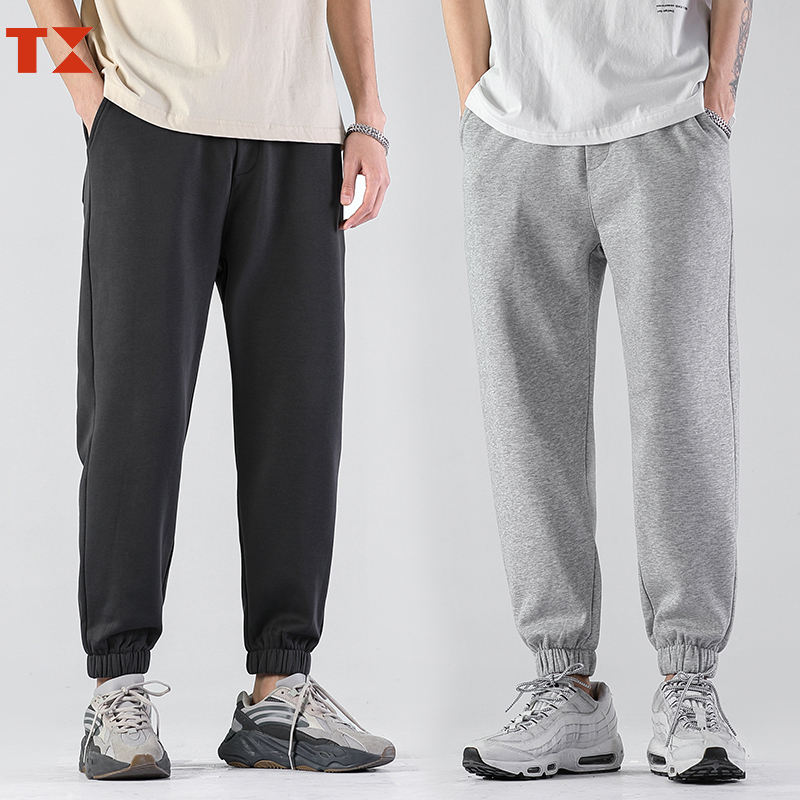 Custom logo sweatpants french terry cotton plain grey casual sweatpants baggy