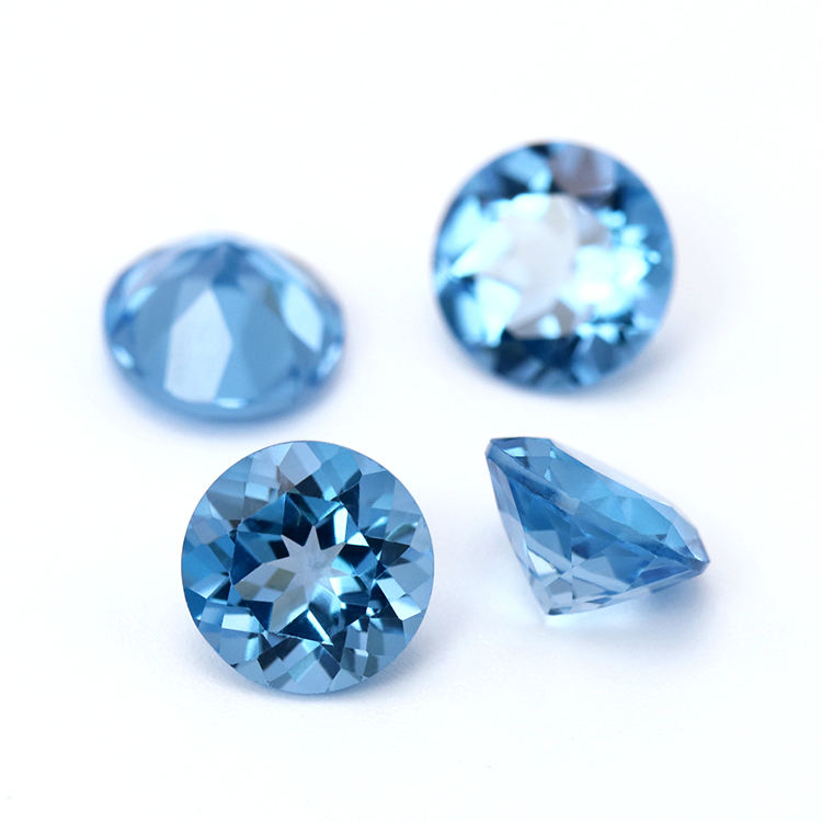 wholesale loose natural gemstone 5mm faceted cut round shape swiss blue topaz