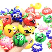 100pcs Mix Designs Flat Back Fruits Resin Watermelon Pine  Pearl Grape Cute Resins DIY Jewelry Necklace Hair Accessor