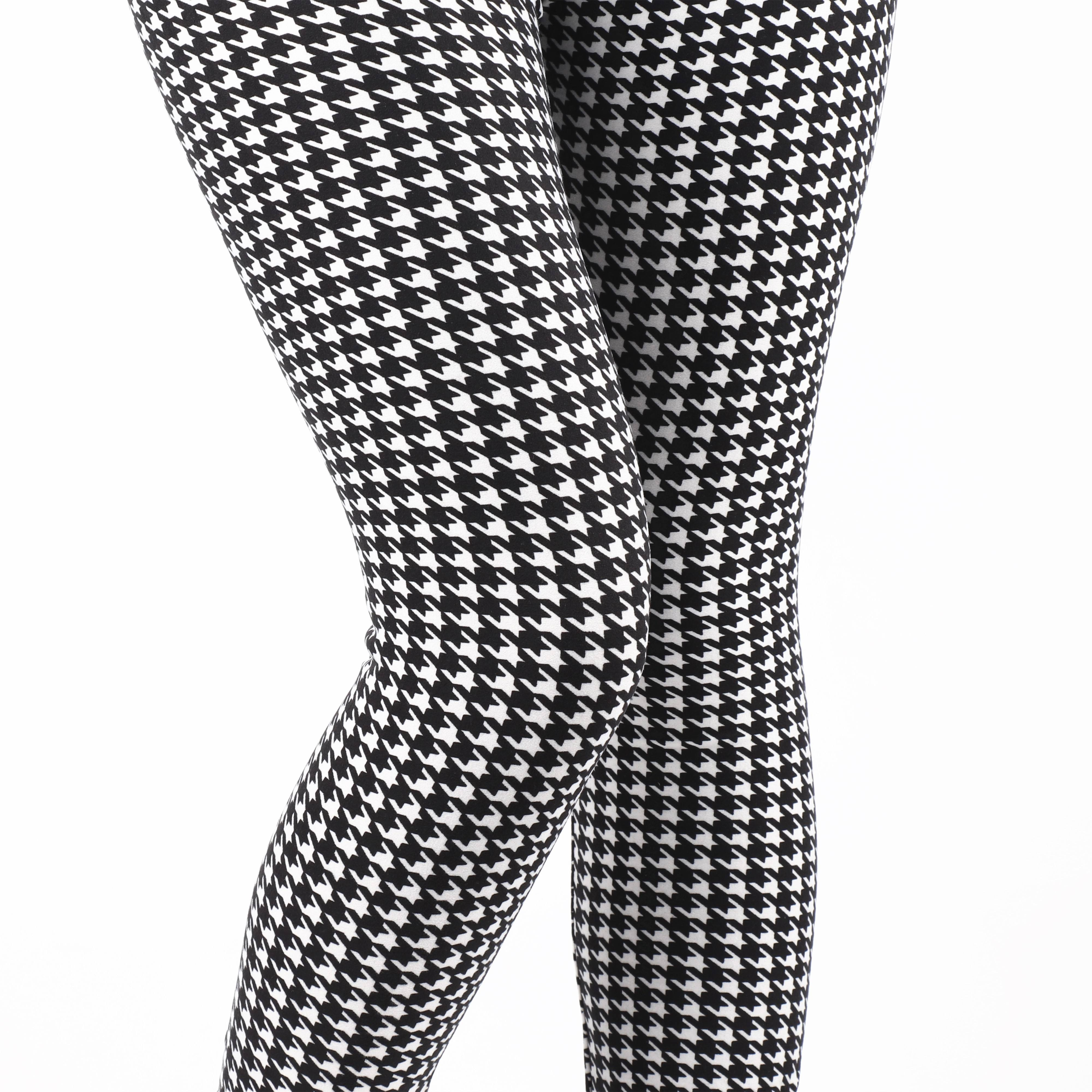 Custom Digital Print Yoga Band Velvet Quality Women Girls Houndstooth Design Skin Buttery Soft Leggings Wholesale